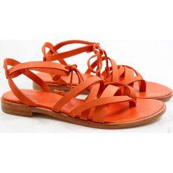 """Chodaki damskie: Skórzane japonki """"Sandra"""" w kolorze pomarańczowym"""