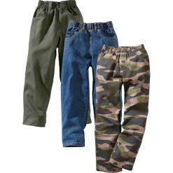 """Odzież dziecięca: Luźniejsze spodnie (3 pary) bonprix moro + ciemnooliwkowy + niebieski """"stone"""""""