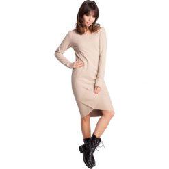 EZRA Sukienka z asymetrycznymi ściągaczami - beżowa. Szare sukienki asymetryczne marki bonprix, melanż, z dresówki, z kapturem, z długim rękawem, maxi. Za 129,99 zł.