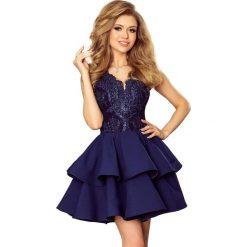 Sabrina - ekskluzywna sukienka z koronkowym dekoltem - GRANATOWA. Niebieskie sukienki hiszpanki numoco, s, z koronki, rozkloszowane. Za 223,90 zł.