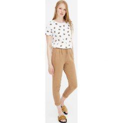 Koszulka z krótkim rękawem w jeże. Białe t-shirty damskie Pull&Bear. Za 29,90 zł.