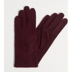 Wełniane rękawiczki z dżetami - Bordowy. Czerwone rękawiczki damskie Mohito, z wełny. Za 49,99 zł.