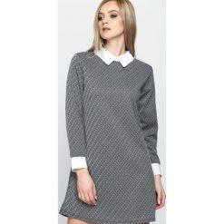 Sukienki: Czarno-Biała Sukienka White Collared