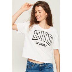 T-shirt z nadrukiem - Biały. Białe t-shirty damskie marki Sinsay, l, z nadrukiem. Za 19,99 zł.