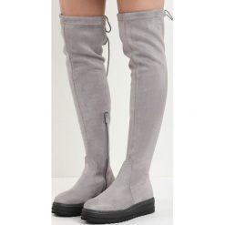 Szare Kozaki Marengo. Szare buty zimowe damskie marki Born2be, z materiału, z okrągłym noskiem, za kolano, na platformie. Za 109,99 zł.