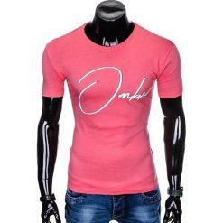 T-SHIRT MĘSKI Z NADRUKIEM S989 - RÓŻOWY. Czerwone t-shirty męskie z nadrukiem marki Ombre Clothing, m. Za 29,00 zł.