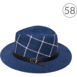 Kapelusz damski  Kraciasty granatowy. Niebieskie kapelusze damskie marki La Redoute Collections, z bawełny. Za 33,69 zł.