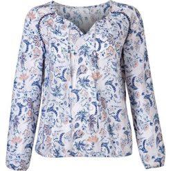 Bluzki, topy, tuniki: Tunika z długim rękawem bonprix biały z nadrukiem