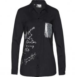 Długa bluzka bonprix czarny. Czarne bluzki longsleeves marki bonprix, z nadrukiem, z dekoltem w serek. Za 99,99 zł.