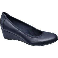 Buty ślubne damskie: czółenka na koturnie Graceland granatowe