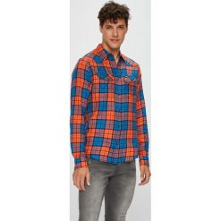Wrangler - Koszula. Brązowe koszule męskie na spinki Wrangler, l, w kratkę, z tkaniny, z klasycznym kołnierzykiem, z długim rękawem. Za 239,90 zł.