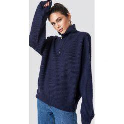 Swetry damskie: NA-KD Trend Sweter z suwakiem - Blue,Navy