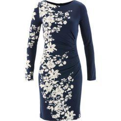 Sukienki: Sukienka shirtowa modelująca sylwetkę bonprix ciemnoniebiesko-beżowoszary