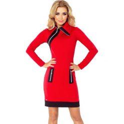 NIKI sukienka z trzema zamkami - CZERWONA + czarne zamki. Czerwone sukienki na komunię marki numoco, s, z materiału, z golfem. Za 159,99 zł.