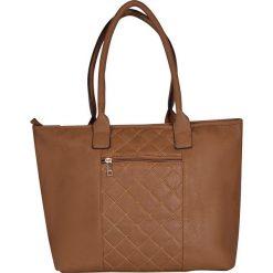 """Shopper bag """"Joanny"""" w kolorze szarobrązowym - 40 x 32 x 19 cm. Brązowe shopper bag damskie Spéciale Maroquinerie, z materiału, pikowane. W wyprzedaży za 108,95 zł."""