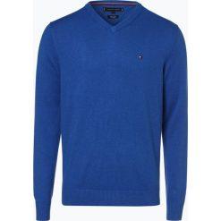 Tommy Hilfiger - Sweter męski z dodatkiem kaszmiru, niebieski. Niebieskie swetry klasyczne męskie TOMMY HILFIGER, l, z dzianiny. Za 449,95 zł.