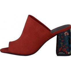 Tamaris Sandały Damskie Heiti 37 Czerwony. Czerwone sandały damskie Tamaris, z materiału, na wysokim obcasie, na obcasie. W wyprzedaży za 149,00 zł.