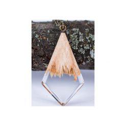 Drewniany naszyjnik kryształ. Brązowe naszyjniki damskie Bewoody. Za 100,00 zł.