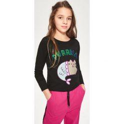 T-shirty dziewczęce: Bluzka z cekinami pusheen – Czarny
