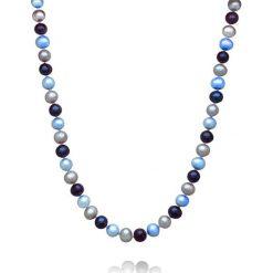 Naszyjniki damskie: Naszyjnik z pereł w kolorze niebiesko-szarym – dł. 42 cm