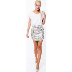 Spódnica geometryczne wzory cekinowa srebrno/złota ZZ223. Szare spódniczki Fasardi, l, w geometryczne wzory. Za 69,00 zł.