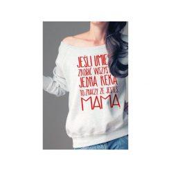 Jedną ręką bluza dla karmiących matek. Szare bluzy z nadrukiem damskie One mug a day, s, z bawełny. Za 159,00 zł.