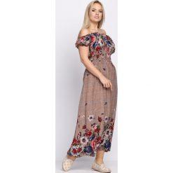Sukienki: Brązowo-Granatowa Sukienka Flower Garden