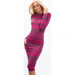 Sukienki: Sukienka dekolt carmen amarantowa 6515