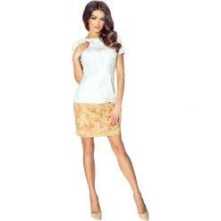 Sukienki hiszpanki: Anna – piękna dwukolorowa krótka sukienka beż-brąz