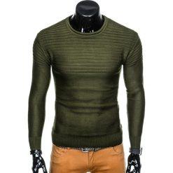 SWETER MĘSKI E136 - KHAKI. Brązowe swetry klasyczne męskie marki Inny, m. Za 49,00 zł.