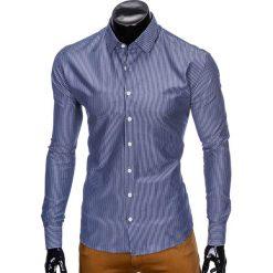 KOSZULA MĘSKA ELEGANCKA Z DŁUGIM RĘKAWEM K428 - CIEMNOGRANATOWA. Zielone koszule męskie marki Ombre Clothing, na zimę, m, z bawełny, z kapturem. Za 49,00 zł.