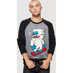 Sweter z raglanowymi rękawami - Czarny. Czarne swetry klasyczne męskie marki Cropp, l. Za 99,99 zł.