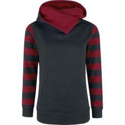 Bluzy rozpinane damskie: Nastrovje Postdam Shawl Collar Stripes Hoodie Bluza z kapturem damska czarny/burgund