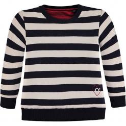 Bluza w kolorze granatowo-białym. Białe bluzy dziewczęce marki Marc O'Polo Junior, z nadrukiem, z okrągłym kołnierzem, z długim rękawem. W wyprzedaży za 82,95 zł.