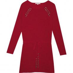 Sukienka kaszmirowa w kolorze bordowym. Czerwone sukienki na komunię Ateliers de la Maille, na imprezę, z aplikacjami, z kaszmiru, midi. W wyprzedaży za 591,95 zł.
