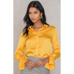 Rut&Circle Plisowana koszula Maci - Yellow. Żółte koszule wiązane damskie marki Rut&Circle, z poliesteru, z długim rękawem. Za 121,95 zł.