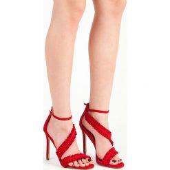 Sandały szpilki z falbanką AFRA. Czerwone sandały damskie marki SEASTAR, na szpilce. Za 89,90 zł.