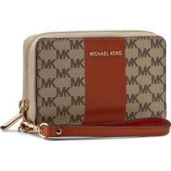 Portfele damskie: Duży Portfel Damski MICHAEL KORS – Center Stripe 32S7GIJE7V Nat/Orange