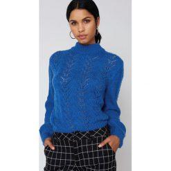 Swetry oversize damskie: NA-KD Dzianinowy sweter – Blue
