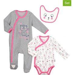 Odzież niemowlęca: 3-częściowy zestaw w kolorze szarym i biało-różowym