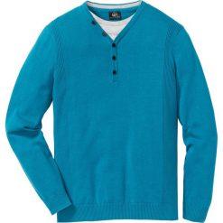 Sweter 2 w 1 Regular Fit bonprix ciemnoturkusowy. Niebieskie swetry klasyczne męskie marki bonprix, l. Za 59,99 zł.