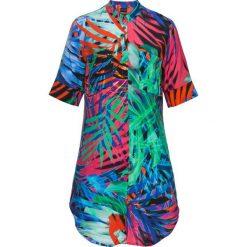 Długa bluzka koszulowa bonprix z kolorowym nadrukiem. Szare bluzki asymetryczne bonprix, w kolorowe wzory, z koszulowym kołnierzykiem, z długim rękawem. Za 109,99 zł.