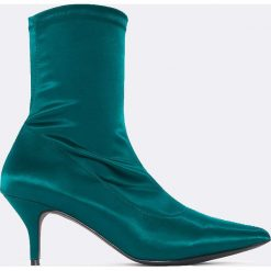 Botki damskie lity: NA-KD Shoes Satynowe botki z miękką cholewką - Green