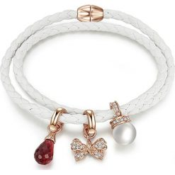 Bransoletki damskie: Skórzana bransoletka w kolorze białym z kryształkami Swarovskiego