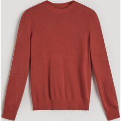 Swetry klasyczne damskie: Gładki sweter z domieszką kaszmiru - Bordowy