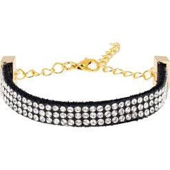 Bransoletki damskie: Skórzana bransoletka w kolorze czarno-złotym