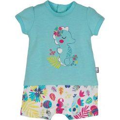 Śpiochy niemowlęce: Rampers w kolorze turkusowym ze wzorem