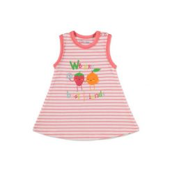Pink or blue  Girls Sukienka orange paski - pomarańczowy. Brązowe sukienki niemowlęce pink or blue, w paski, z bawełny, na ramiączkach. Za 19,00 zł.