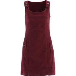 Sukienka sztruksowa bonprix bordowy. Czerwone sukienki na komunię marki bonprix, ze sztruksu, na ramiączkach. Za 109,99 zł.