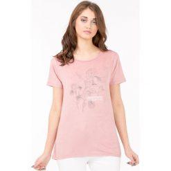 T-shirt z kwiatowym printem. Szare t-shirty damskie Monnari, z nadrukiem. Za 49,98 zł.